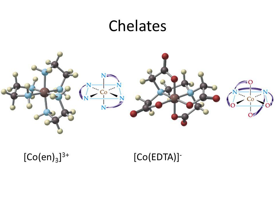 Chelates EDTA Ethylenediamine (en) [Co(en)3]3+ [Co(EDTA)]-